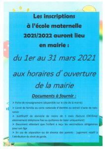 Inscriptions à l'école maternelle 2021/2022